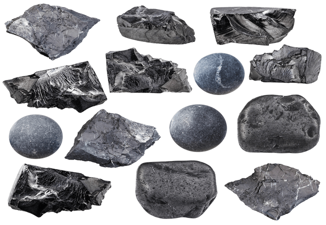 a collection of Shungite rocks